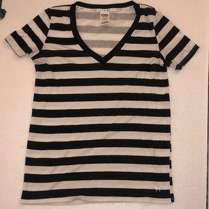 Pink Vs t shirt black white stripes S
